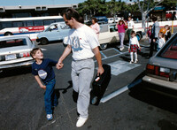 Izidor with his adoptive father on first arriving in San Diego from Romania.