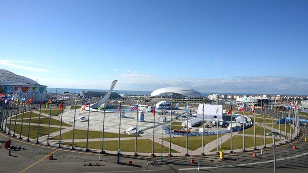 A view of the Olympic Park on Feb. 6, a day before the opening ceremony of the 2014 Winter Olympics in Sochi, Russia.