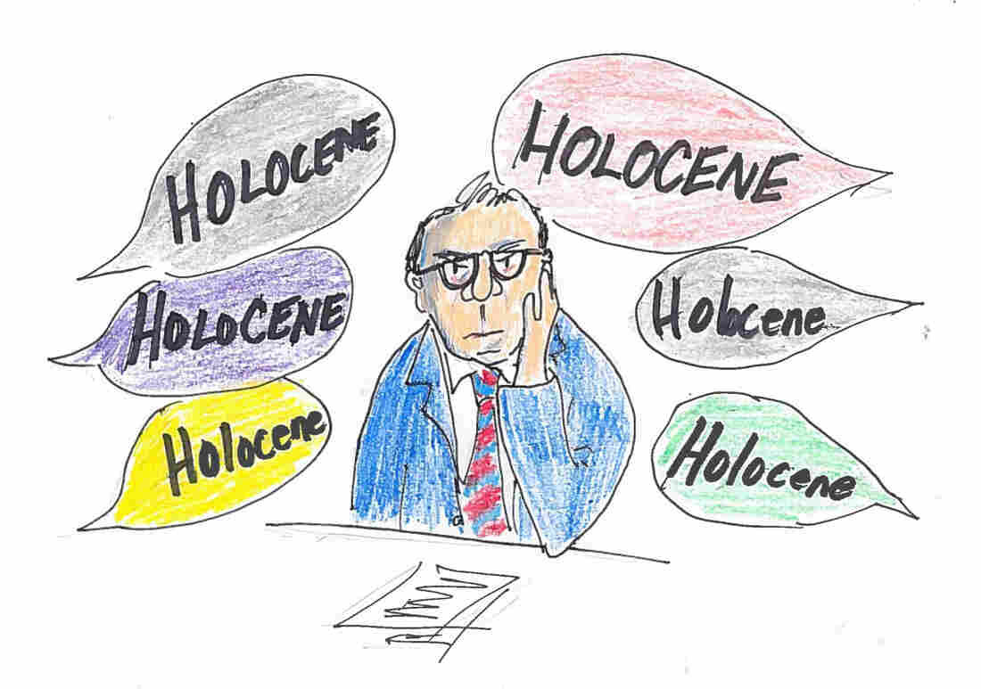 "Crutzen listens to ""Holocene"" discussion at a science meeting."