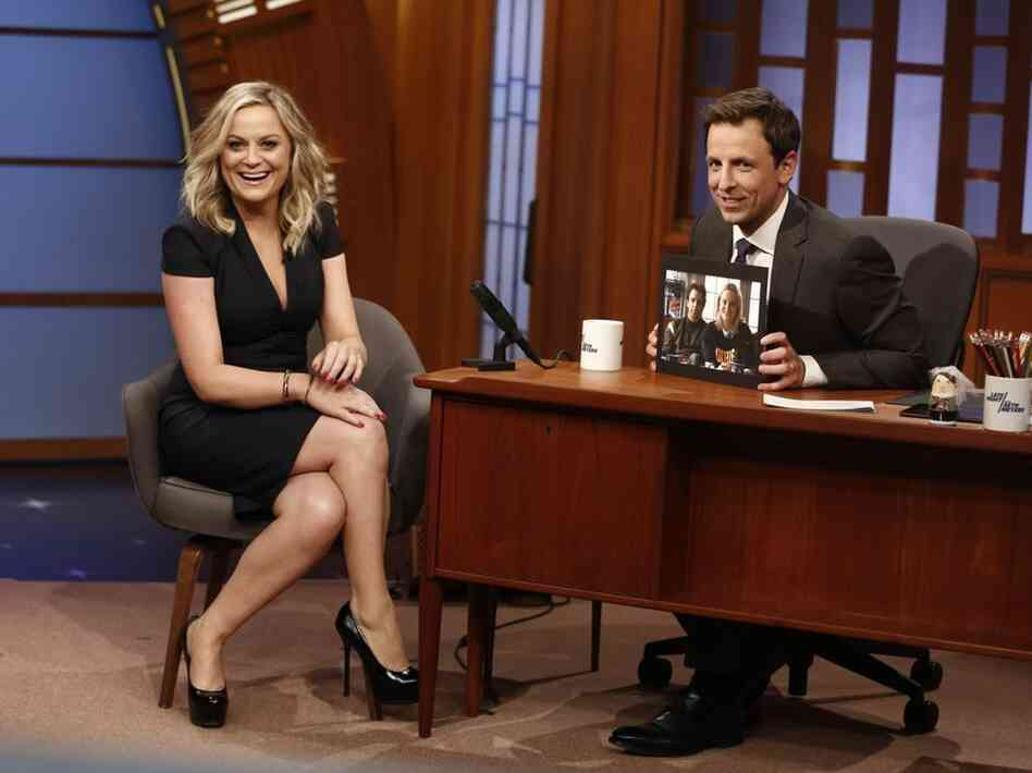 Actress Amy Poehler during an interview with host Seth Meyers on the premiere of Meyers' Late Night.