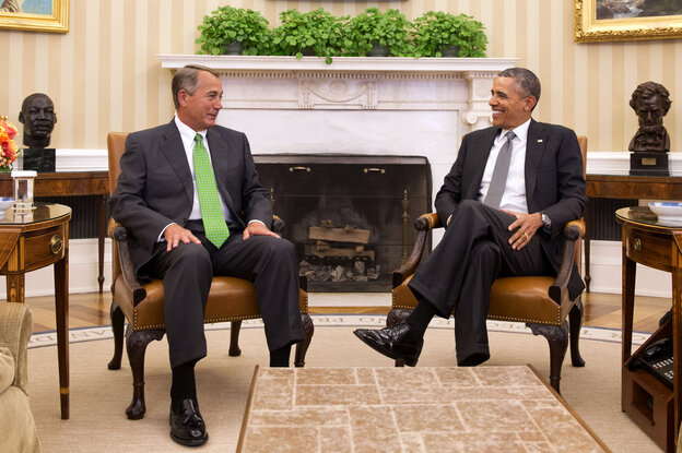 President Obama and Speaker John Boehner were all smiles at a rare White House meeting Tuesday. But their relationship has more often been marked by angry finger-pointing.