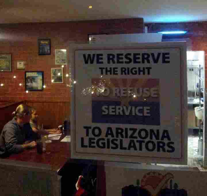 The Tucson restaurant Rocco's Pizzeria created a stir when it posted a sign in its dining room reacting to a new Arizona bill that would allow businesses to refuse to serve gays and others if they offend proprietors' religious beliefs.