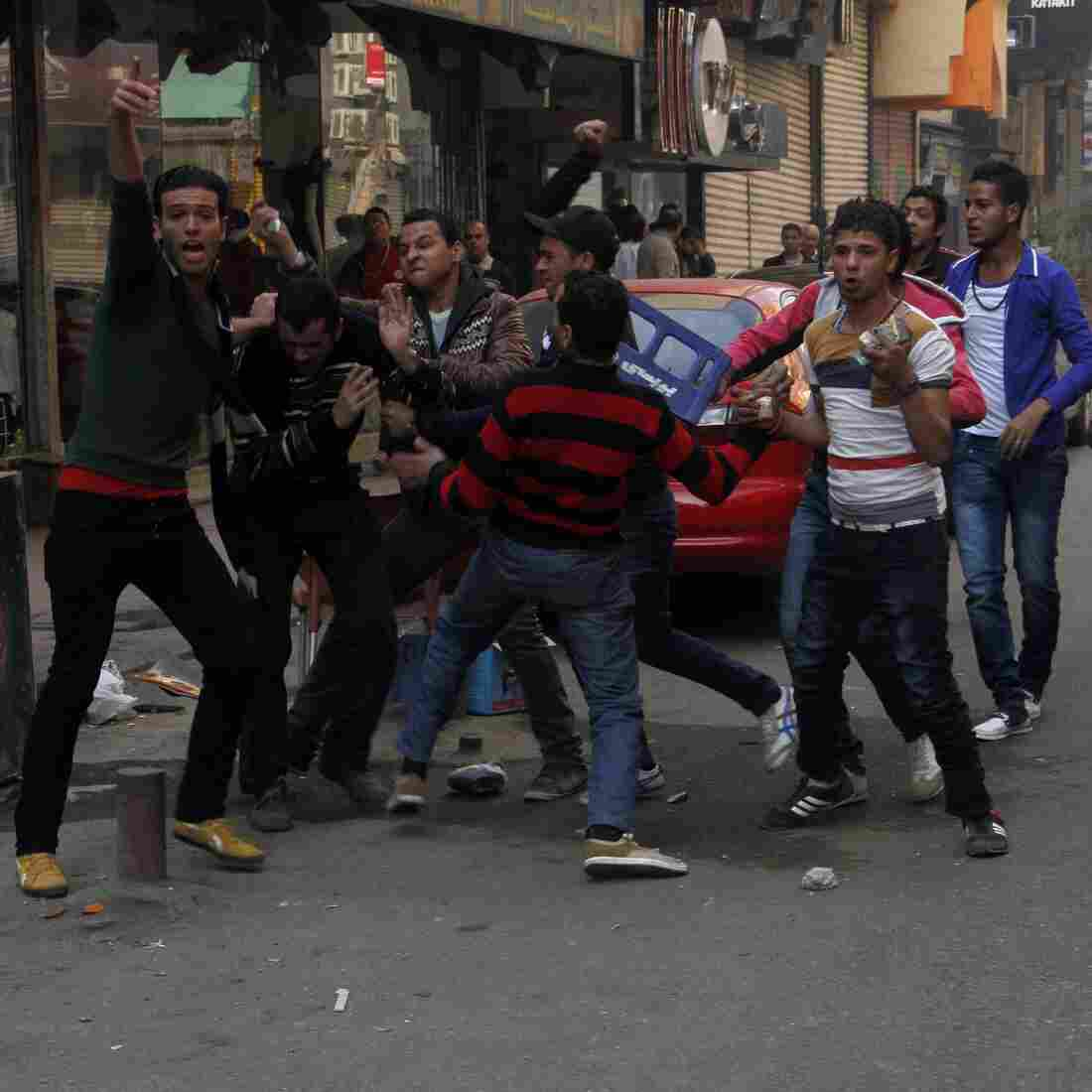 Clashes break out between rival Egyptian groups near Cairo's Tahrir square, on Jan. 25, 2014. The day marked the third anniversary of the uprising that toppled former ruler Hosni Mubarak, but the military is back in control in Egypt.