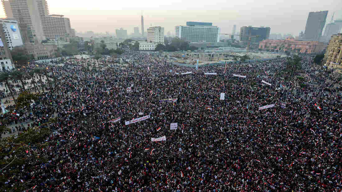 Egyptians gather in Cairo's Tahrir Square on Jan. 25 to mark the third anniversary of the 2011 uprising. Many Egyptians expected dramatic changes at the time, but the military remains the country's most powerful institution.