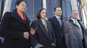 Couples Cleopatra De Leon and Nicole Dimetman and  Victor Holmes and Mark Phariss speak with reporters outside the U.S. Federal Courthouse in San Antonio earlier this month. The judge in their case ruled Texas' ban on gay marriage unconstitutional Wednesday.