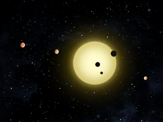This artist rendering provided by NASA, shows Kepler-11, a sunlike star around which six planets orbit.