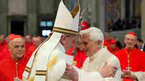 Pope Francis, left, and former Pope Benedict XVI at a Vatican ceremony on Saturday. It was their first public appearance together in the year since Benedict resigned.