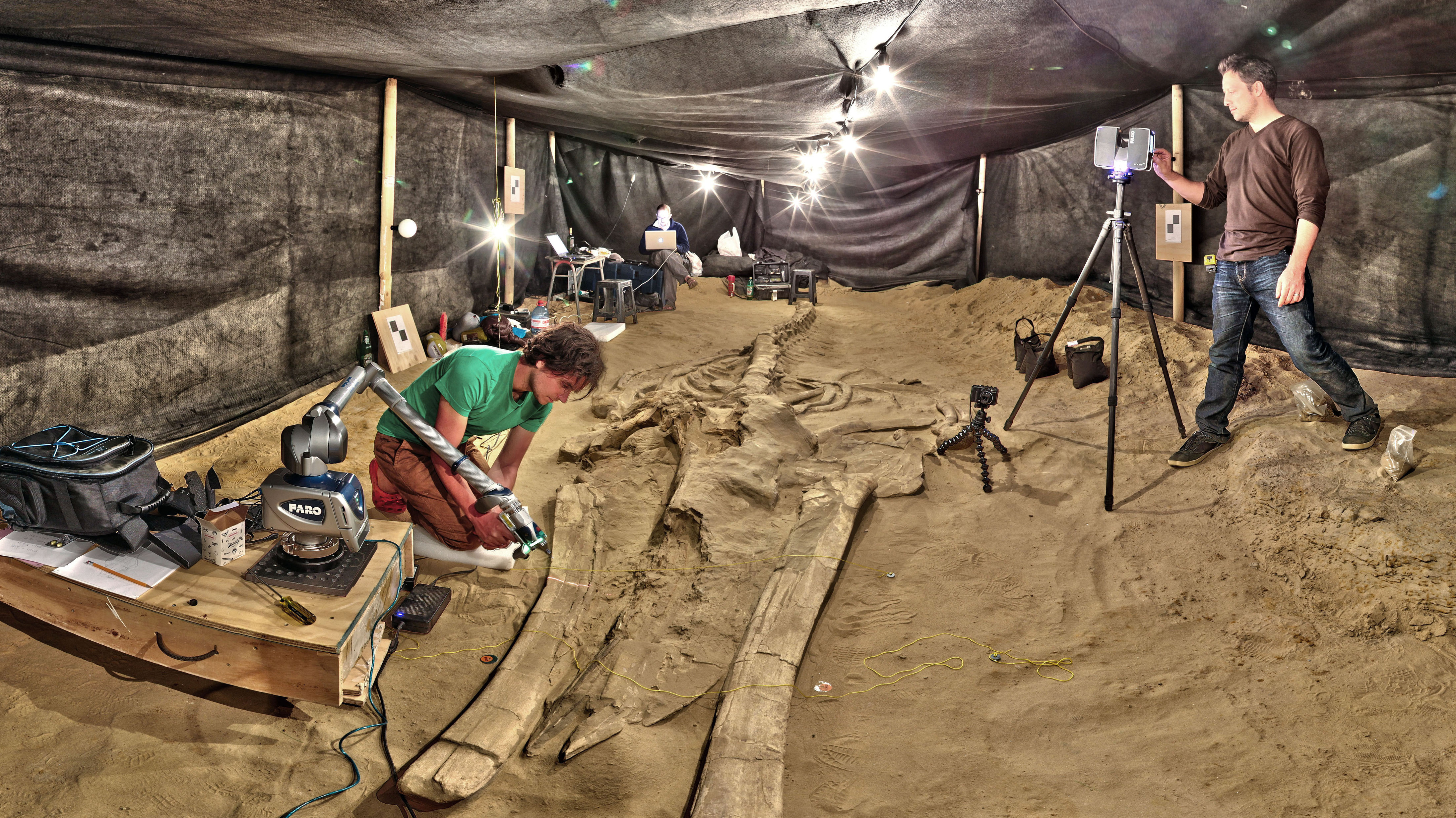 Adam Metallo, left, and Vince Rossi from the Smithsonian's Digitization Program use a high-resolution laser arm and medium-range laser scanners to document one of the most complete fossil whales at the site in Chile.