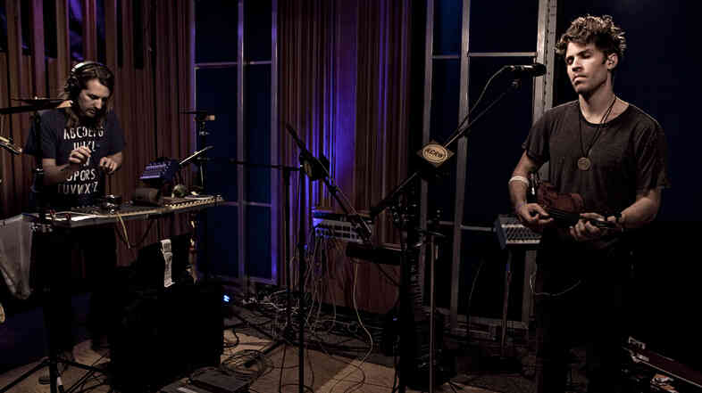 Lo-Fang (right) performs live on KCRW.