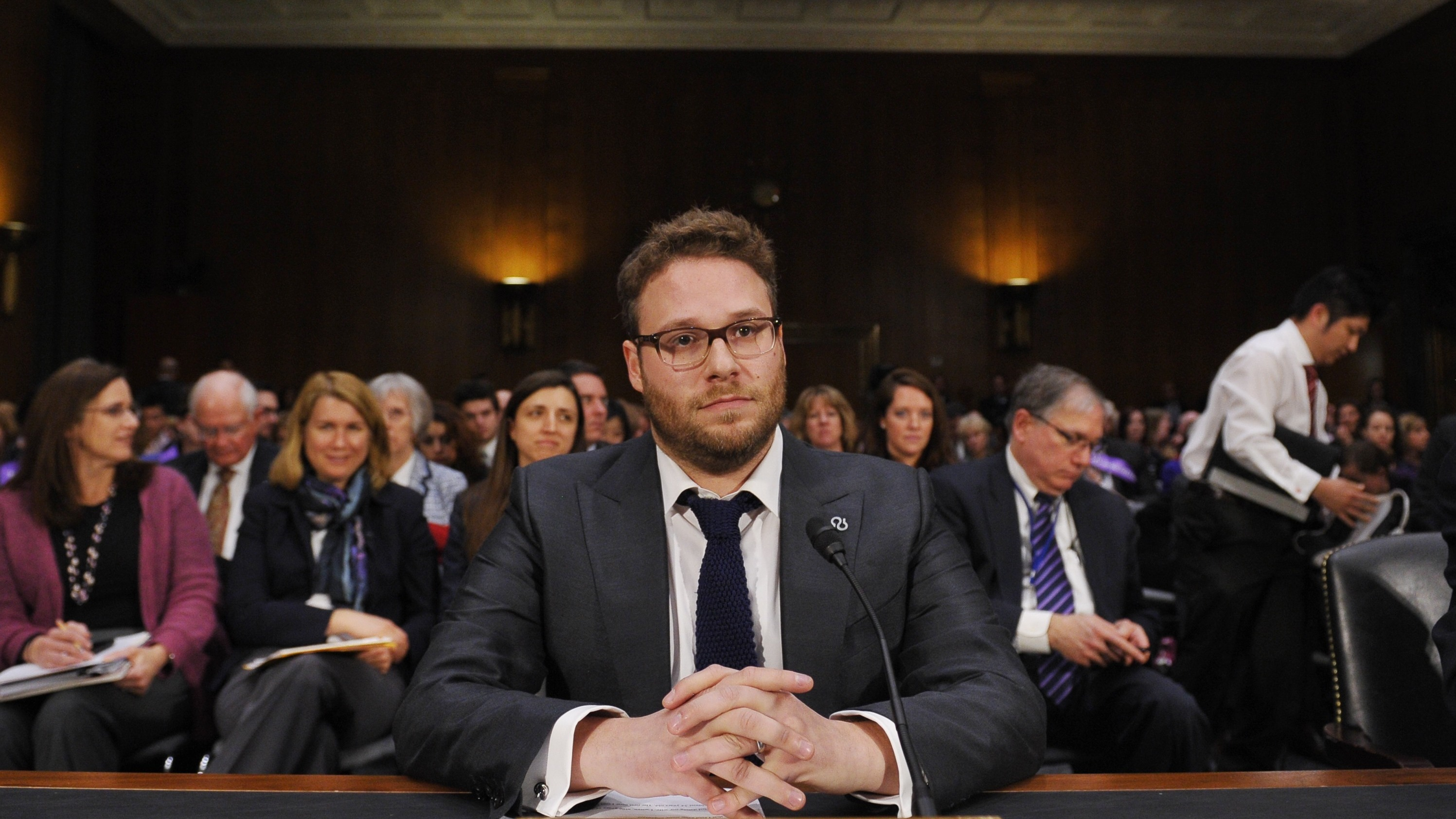 Seth Rogen Tees Off On Senators Who Walked Out On His Testimony