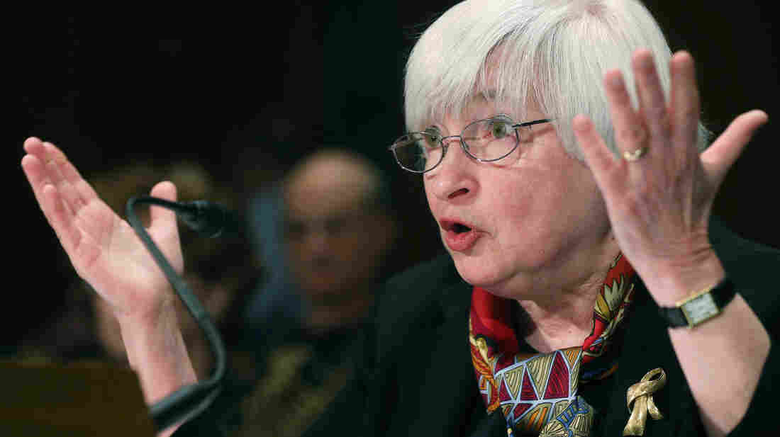 Federal Reserve Board Chair Janet Yellen gestures as she testifies during a Senate Banking, Housing and Urban Affairs Committee hearing while delivering the Federal Reserves semiannual Monetary Policy Report on Capitol Hill Thursday.