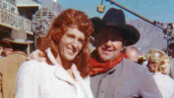 Dean Smith, doubling as Maureen O'Hara, with stuntman Lee McLaughlin on the set of McClintock!
