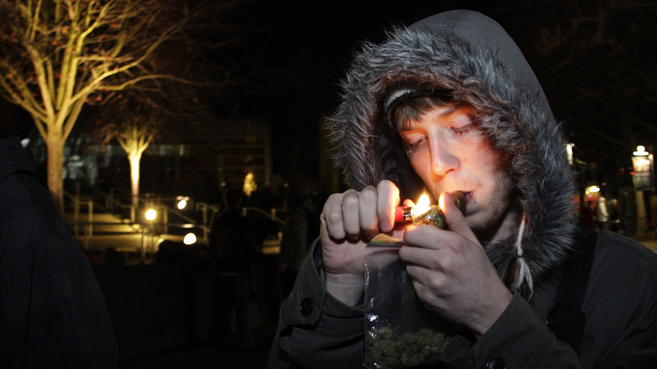 C. Nash smokes after possession of marijuana became legal in Washington state on Dec. 6, 2012. (AP)