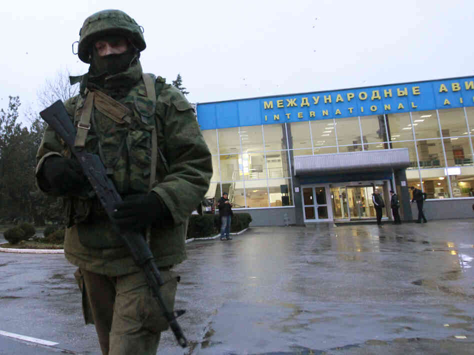 On Friday, armed men took control of the international airport in the city of Simferopol, on the Crimean peninsula. Gunmen took control of another airport in Crimea, as well.
