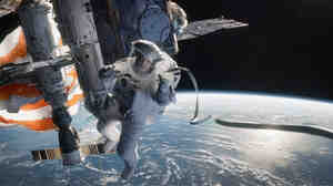 In Alfonso Cuaron's Gravity, one of nine best picture nominees in the running on Sunday night, Sandra Bullock plays an astronaut careening through space after an accident.
