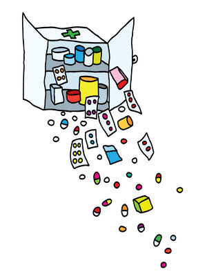 Medicines tumble out of a cabinet.
