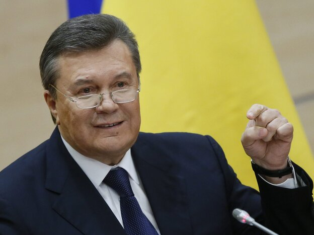Viktor Yanukovych, who says he's still the president of Ukraine, at his news conference Friday in the southern Russian city of Rostov-on-Don.