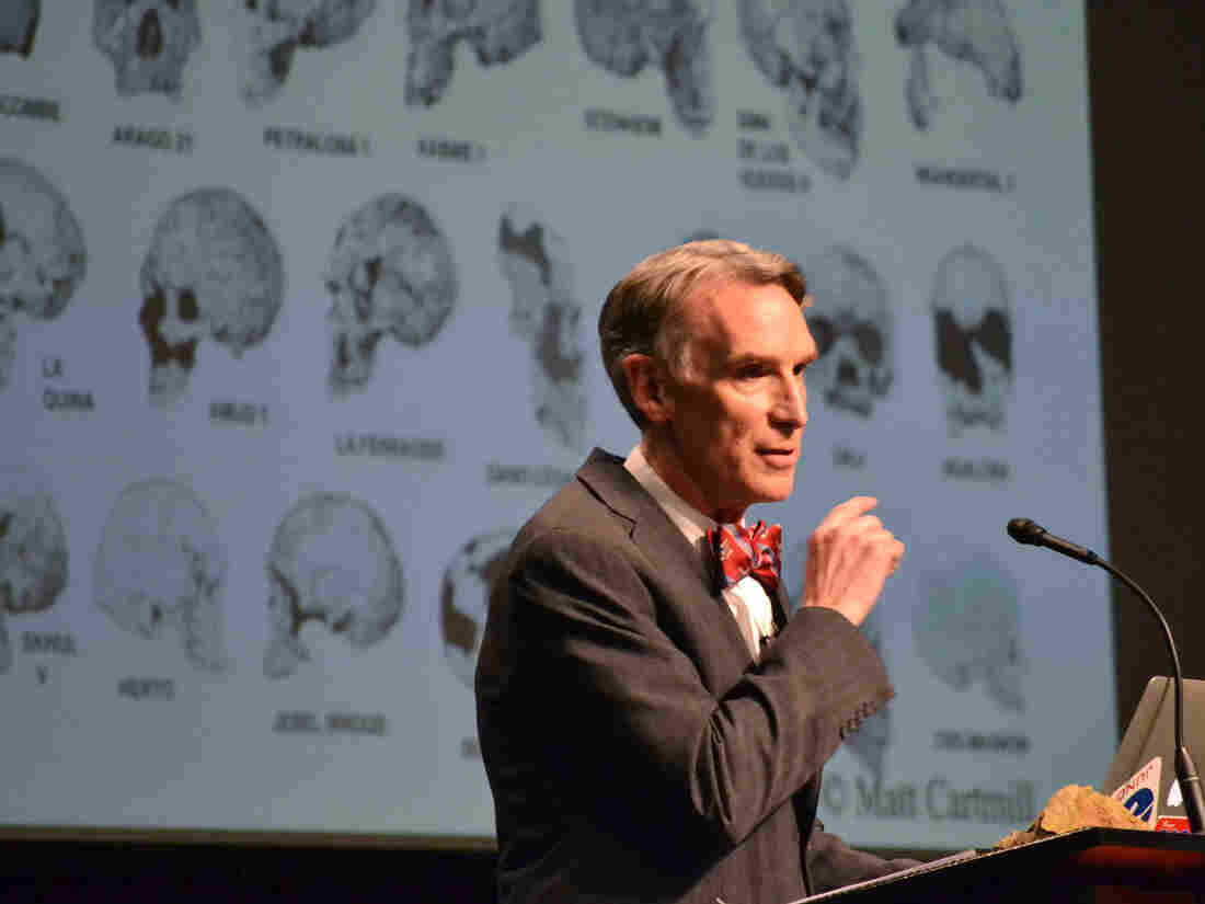 """TV's """"Science Guy"""" Bill Nye speaks during a debate on evolution with Creation Museum head Ken Ham on  Feb. 4 at the Petersburg, Ky, museum."""