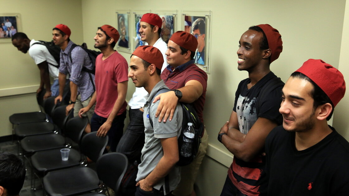 "The brothers of Alpha Lambda Mu come from a variety of backgrounds and religious upbringings. ""We meet at this middle ground we call brotherhood,"" says ALM founder Ali Mahmoud."