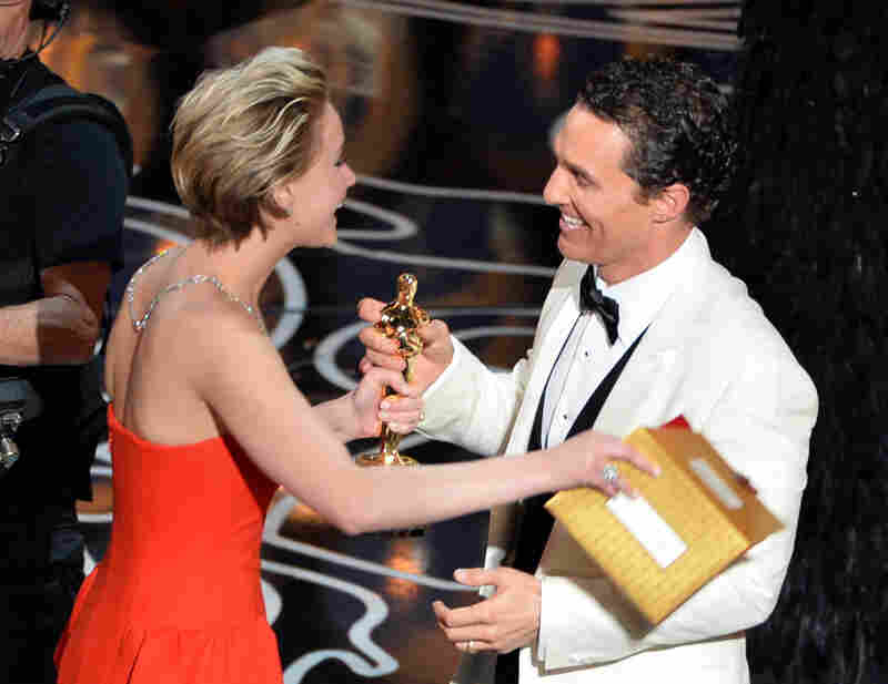 Jennifer Lawrence handed the Best Actor Oscar to Matthew McConaughey for Dallas Buyers Club; the actor delivered a typically goofy if ultimately sincere speech.