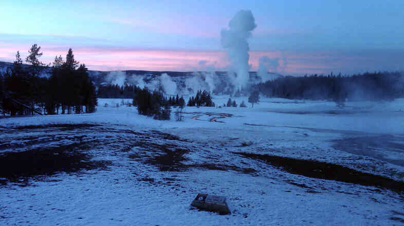 The Upper Geyser Basin at sunset in Yellowstone National Park, Wyo.