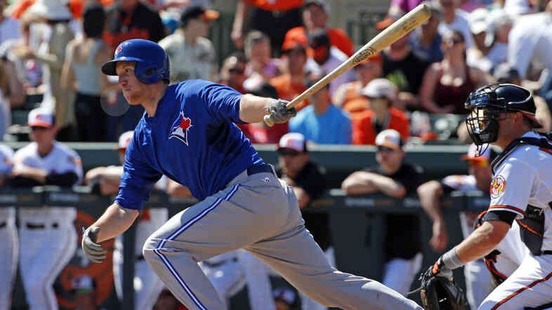 A play involving Toronto Blue Jays' Jared Goedert was the first to be reviewed under baseball's extended replay rules.