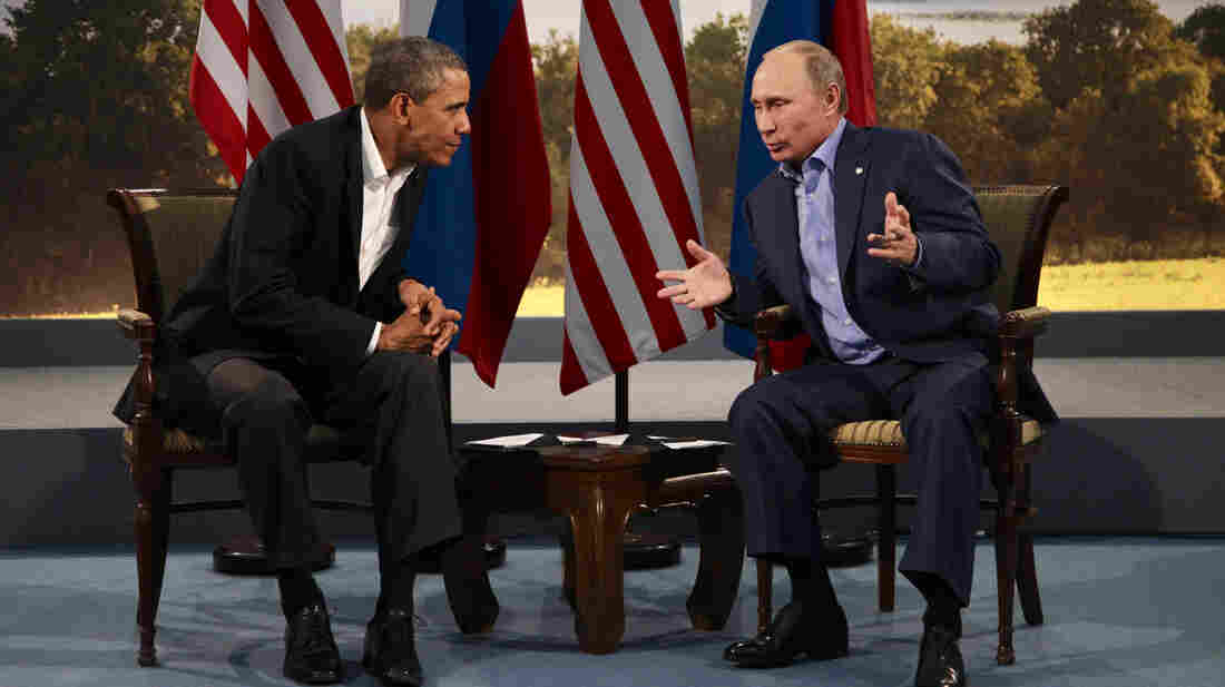 President Obama and Russian President Vladimir Putin meet in Enniskillen, Northern Ireland, on June 17. Obama has strongly condemned Russian intervention in Ukraine but has not yet announced a concrete response.