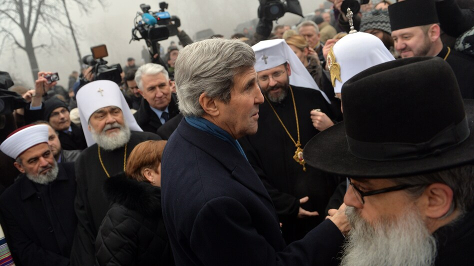 Secretary of State John Kerry speaks to religious leaders at the Shrine of the Fallen, a tribute to anti-government protesters, on Tuesday in Kiev, Ukraine. (AFP/Getty Images)