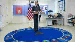 President Barack Obama delivers remarks on his 2015 budget plan Tuesday at Powell Elementary School in Washington.