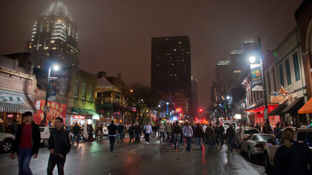 Downtown Austin during a rainy South by Southwest Interactive, in 2012.