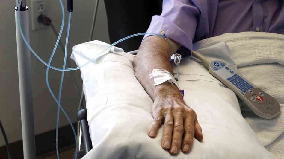 Chemotherapy is administered to a patient at Duke Cancer Center in Durham, N.C.