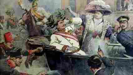 This illustration from an Italian newspaper depicts Gavrilo Princip killing Archduke Francis Ferdinand on June 28, 1914.