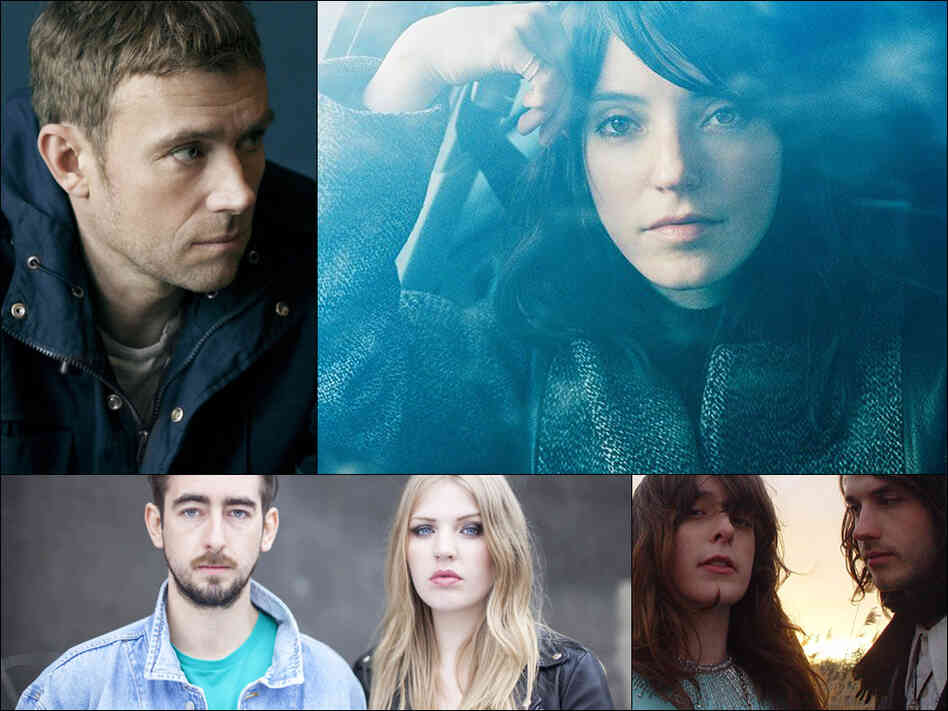 Clockwise from upper left: Damon Albarn, Sharon Van Etten, Beach House, Slow Club