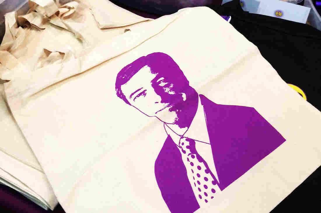 At the UK Independence Party's recent national convention Torquay, England, vendors sell tote bags printed with leader Nigel Farage's face in bright purple ink.