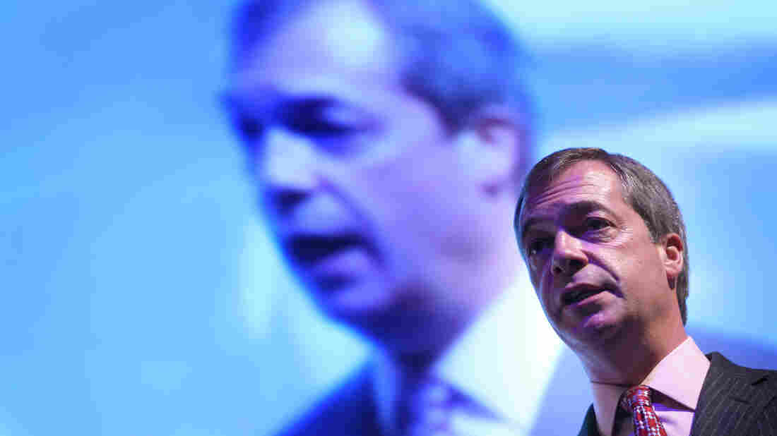 UKIP leader Nigel Farage speaks at a public meeting at the UKIP 2014 Spring Conference at the Riviera International on March 1, 2014 in Torquay, England.