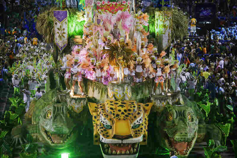Revelers from the Vila Isabel samba school participate in the annual Carnival parade in Rio de Janeiro's Sambadrome.