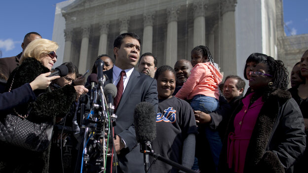 Debo Adegbile, special counsel of the NAACP Legal Defense Fund, speaks with the media outside the Supreme Court in Feb. 2013 after presenting arguments in the Shelby County, Ala., v. Hold