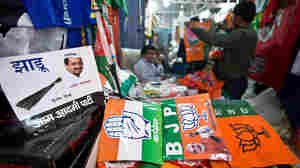 A wholesale shop in New Delhi was selling various Indian national and regional political party flags and campaign materials ahead of elections in India, the world's largest democracy.
