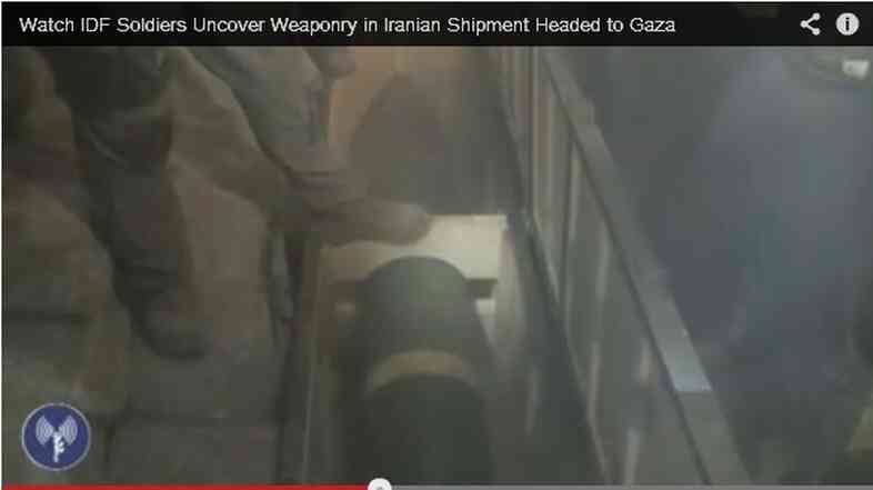 Israeli Defense Forces (IDF) say the video shows an Iranian shipment bound for Gaza.