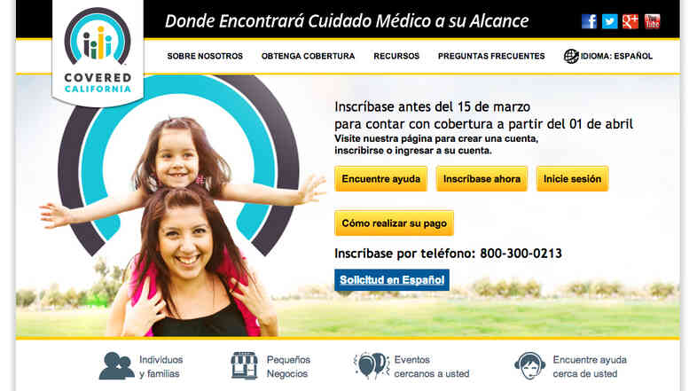 Covered California's Spanish-language website.