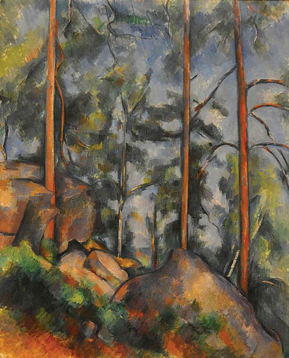Pines and Rocks (Fontainebleau), oil on canvas by Paul Cézanne, c. 1897.