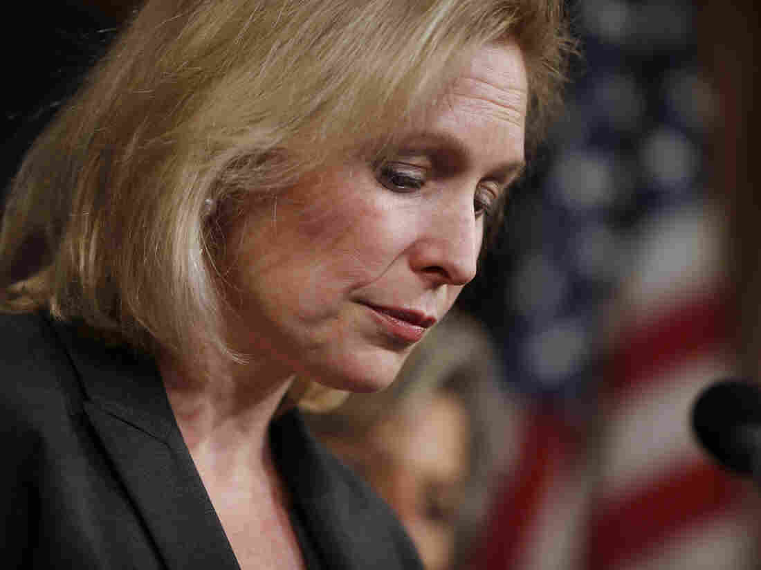 Sen. Kirsten Gillibrand (D-NY) pauses while speaking at a news conference on Capitol Hill in Washington, on Thursday following the  Senate vote on the military sexual assaults bill she sponsored.