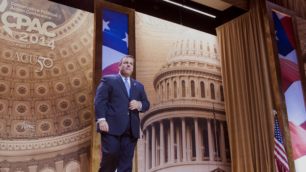 New Jersey Gov. Chris Christie arrives to speak at the Conservative Political Action Conference in National Harbor, Md., on Thursday.