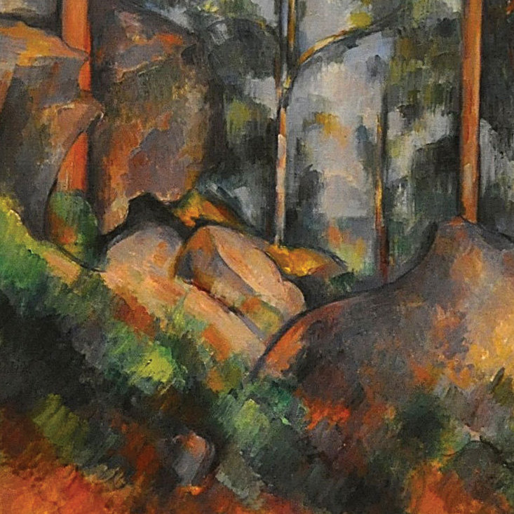 A detail of Pines and Rocks by Paul Cézanne.