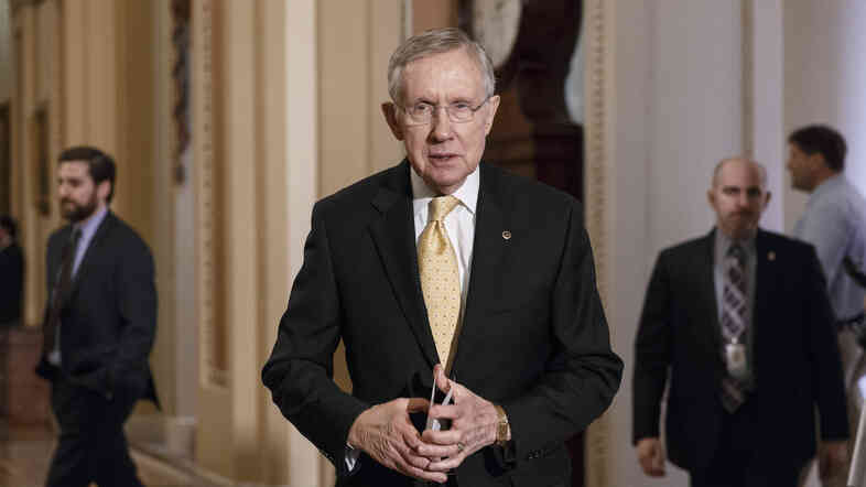 Senate Majority Leader Harry Reid, D-Nev., faces reporters at the Capitol after bipartisan Senate opposition blocked swift confirmation for President Barack Obama's choice to head the Justice Department's Civil Rights division on March 5.