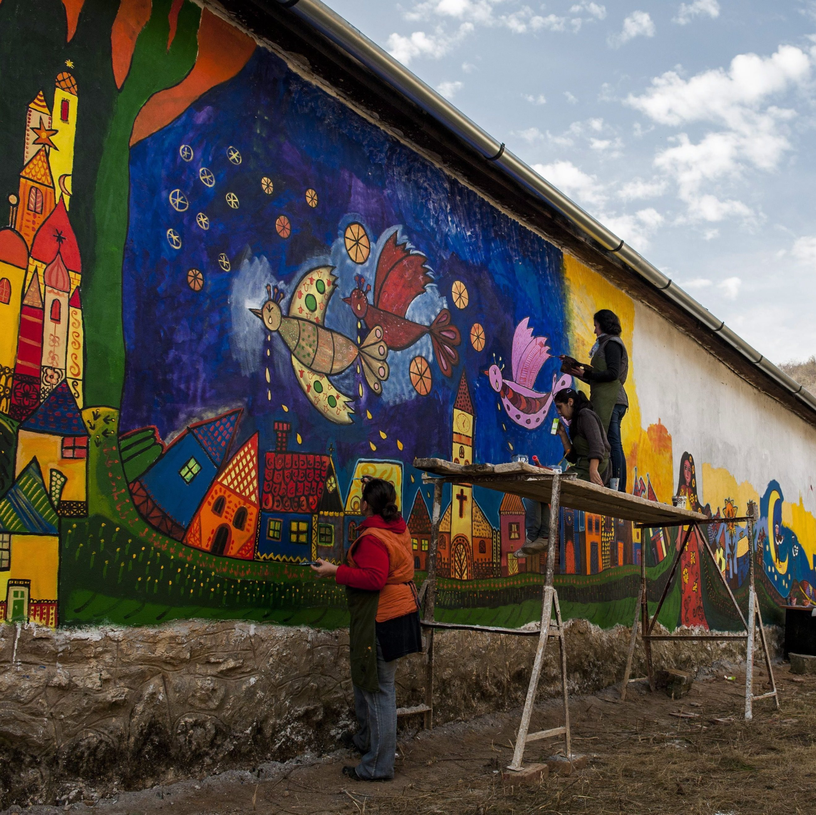 In the small Roma village of Bodvalenke, building walls are covered in frescoes that represent Roma culture. It is meant to encourage tourism and integration.