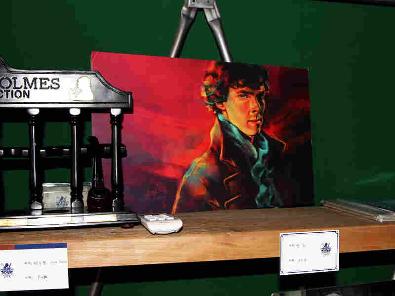 Parts of 221B Baker Street have a shrine-like quality and feature photos of Benedict Cumberbatch, the handsome British actor who plays Holmes on the BBC series Sherlock. Ninety-percent of the customers are women.