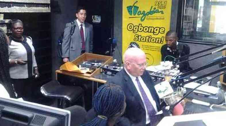 James F. Entwistle, the U.S. ambassador to Nigeria, speaks pidgin English during an interview with Wazobia FM in Nigeria.