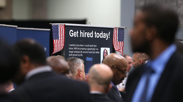 The scene at a job fair for veterans earlier this year in Washington, D.C. (Getty Images)