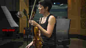 Anne Akiko Meyers, with her recently acquired Guarneri violin, at NPR's Studio 1.